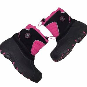 Totes Girls Black Pink Snow Boots Sz 2
